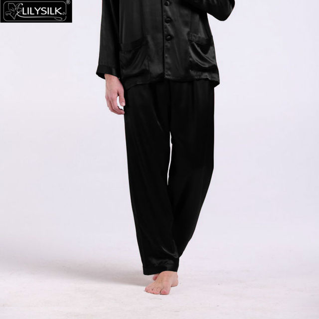 Lilysilk Brand-Clothing 100% Silk Long Pants Men Pure Solid 22 Momme Full Length Sexy Male Pajamas Wedding Sleep Bottom
