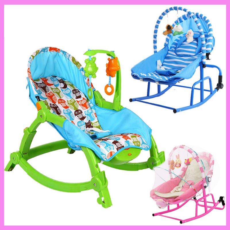 Newborn Baby Rocking Chair Comfort Toddler Cradle Deck Chair Sleeping Swing Lounge Chair Bouncers with Music Pillow Summer Mat 2017 new limited brand cradle electric baby swing music rocking chair automatic sleeping basket golden frame 8gb bluetooth usb