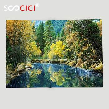 Custom Soft Fleece Throw Blanket Nature Autumn Landscape Scenery Forest by River Seasonal Rural Countryside Picture Green Blue