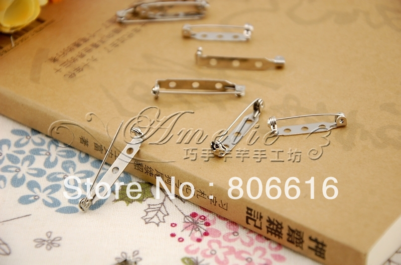 25MM 200Pcs Nickel Color Brooch Pin Safety Pins Connectors Hoops Clasps Metal Jewelery Findings Accessories