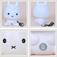 EU Plug Baby Bedroom Lamps Night Light Cartoon Pets Rabbit Panda PVC Plastic Sleep Led Lamp