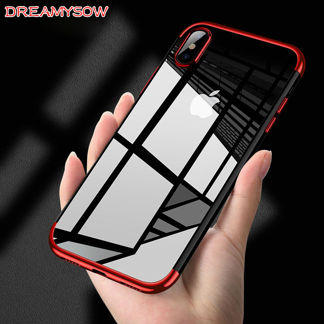 Luxury Silikon Bening Case untuk iPhone 6 6 S Plus TPU Lembut Plating Frame Transparan Kembali PENUTUP UNTUK iPhone 7 8 Plus X Max XR