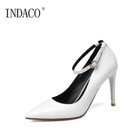 European Ankle Strap Pumps Genuine Leather Red Bottoms For Women Heels Thin High Heel Shoes 9