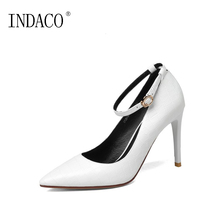 European Ankle Strap Pumps Genuine Leather Red Bottoms for Women Heels Thin High Heel Shoes 9.5cm