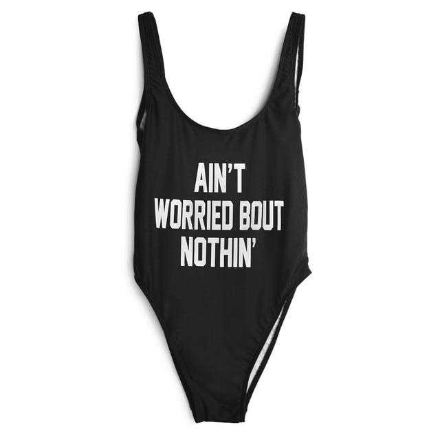 081419a930d Sexy Black Romper Women Jumpsuit AIN'T WORRIED BOUT NOTHIN' Funny Letter  Shorts Bodysuit