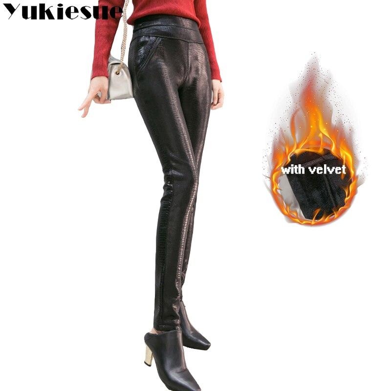 Pu leather   pants     capri   women 2018 winter warm fleece thicken high waist elastic skinny stretch pencil   pants   feamale trousers