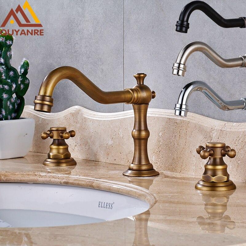 4 Colors 3 pcs Antique Brass Black Chrome Deck Mounted Bath Basin Sink  Vanity Faucet WaterOnline Buy Wholesale 4 bath faucet from China 4 bath faucet  . 3 4 Bath Spout. Home Design Ideas