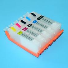 5 colors PGI-470 CLI-471 refill ink cartridge with ARC chip show ink level for Canon PIXMA mg6840 mg5740 printer pgi 470 cli 471