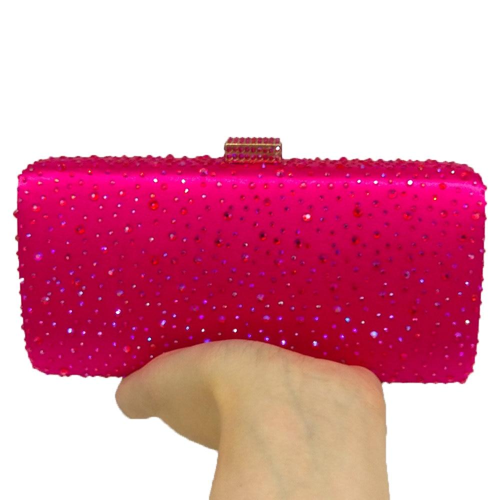 11a0661f9b22 Купить Boutique De FGG ярко розовый фуксия Кристалл сцепления вечерние сумки  для женщин Diamond Metal сумка холодильник Свадебная вечеринка клатчи  Свадебный ...