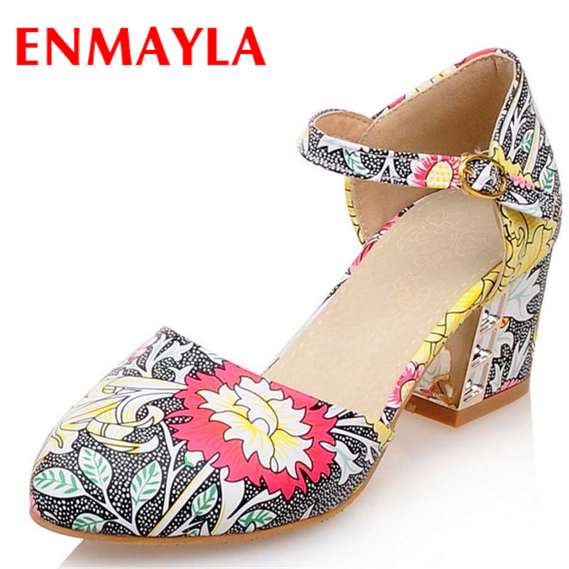Airfour New Sweet Ladies Shoes High Heel Square Heels Pumps Women Print Flowers Buckle Strappy Sandals Casual Woman