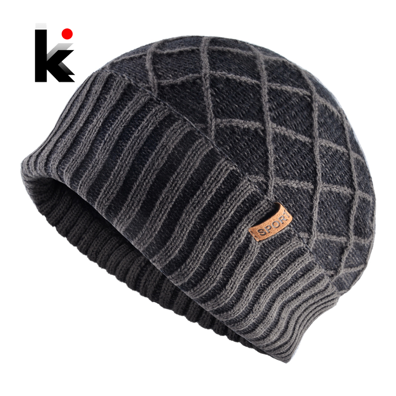 Winter Beanies Hats For Men Warm Knitting Plaid Wool Skullies Caps Thick Toucas Add Velvet Outdoor Ski Beanie Gorras Women Hat