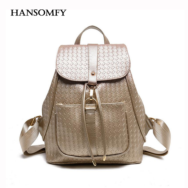 HANSOMFY Woven Embossed Backpack Women Large capacity Drawstring Travel Bags Preppy Casual Teenager Leather Knapsack Daypacks