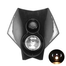 12V Black Motorcycle Headlight Fairing Kit Hi Lo Beam Bulbs Bright White LED Head Lighting Universal