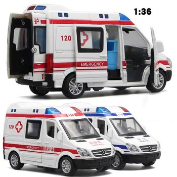 1:32 Hospital Rescue Ambulance Police Metal Cars Model Pull Back Sound And Light Alloy Diecast Car Toys For Children Boys Gifts