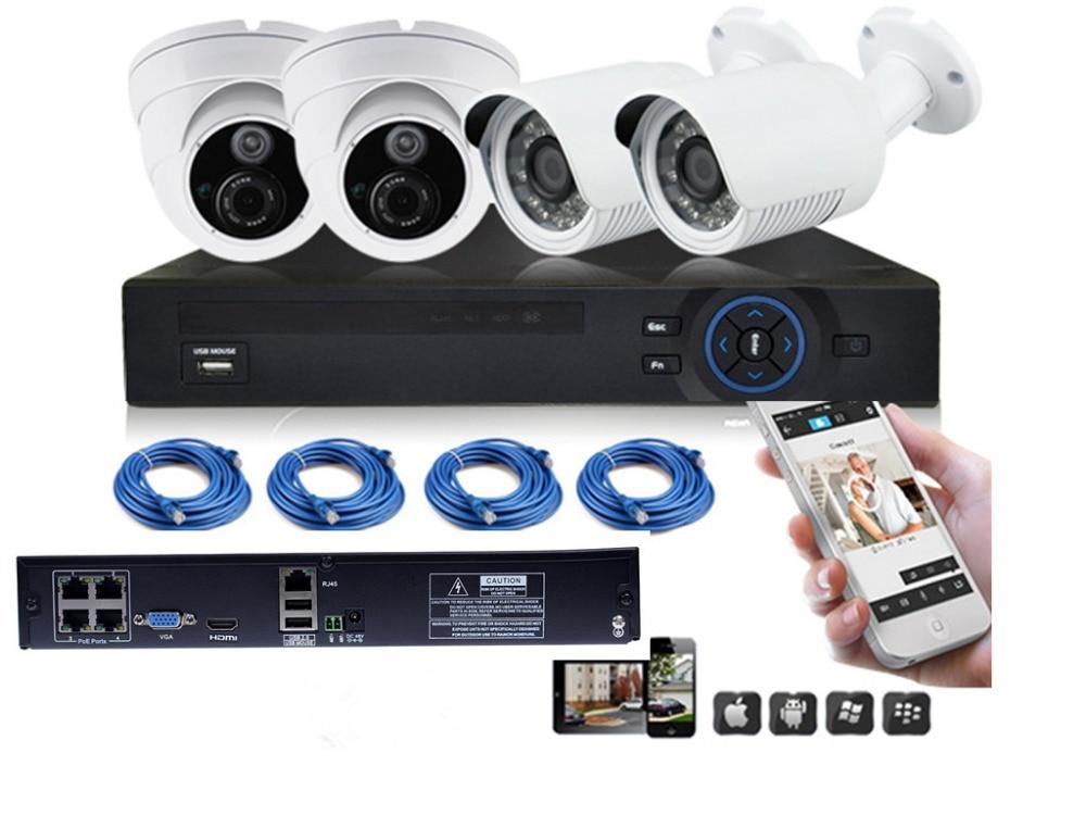 4ch NVR 720p POE-system 0utdoor 1MP POE IP-kamera HD-inspelare 4ch - Säkerhet och skydd - Foto 1