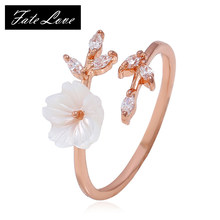 Korean Style Zircon Crystal Leaf Shell Flower Ring for Women Open Ring Rose Gold Color Finger Ring Ladies Girl Jewelry Wholesale(China)