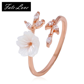 Luxury Zircon Crystal Leaf Shell Flower Rings For Women Open Ring Rose Gold Color Finger Ring Ladies Girl Jewelry image