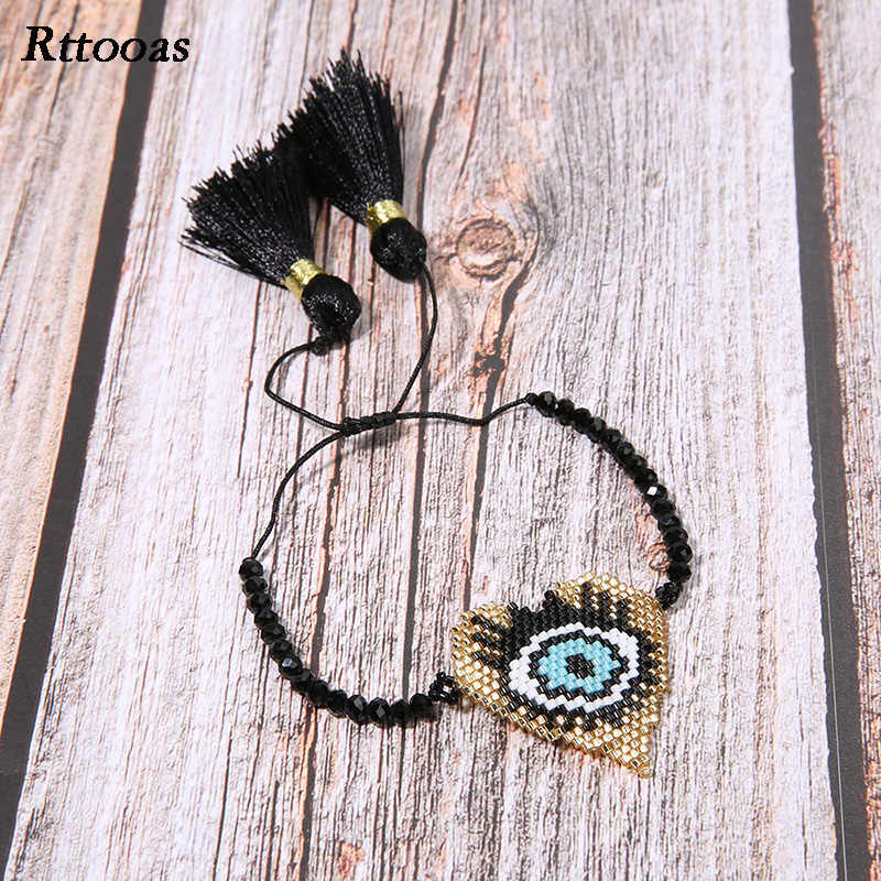 Rttooas Miyuki Beads Evil Eye Bracelet for Women Heart Shape Lover Bracelet Handmade Friendship Jewelery Dropshipping