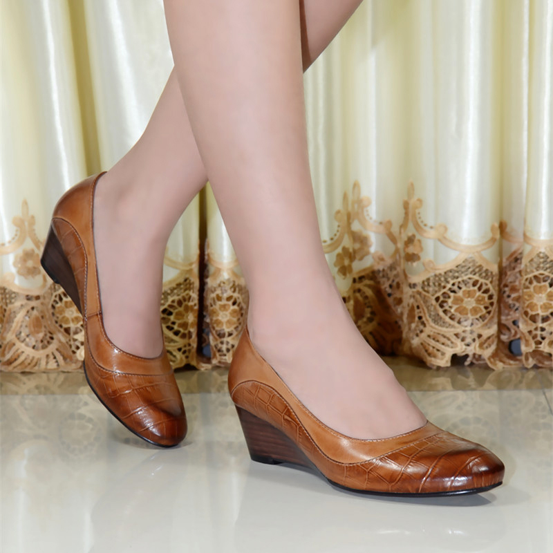 ФОТО 2015 Italy quality women's genuine leather shoes women round toe wedges pumps dress shoes for women office shoes 078-001