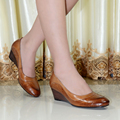 2015 Italy quality women's genuine leather shoes women round toe wedges pumps dress shoes for women office shoes 078-001