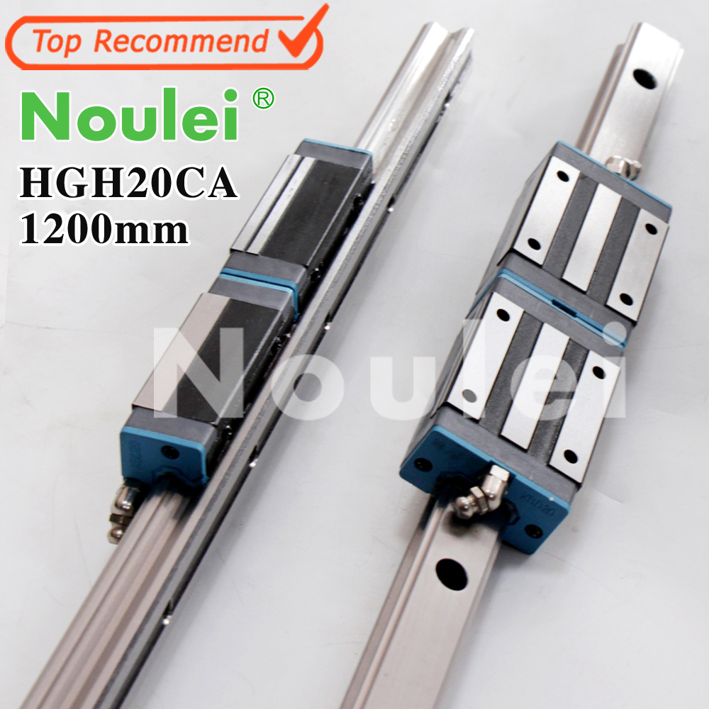 Noulei HGH20CA slide block with 1200mm linear guide rail hgr20 1m for CNC parts HGH20 guia lineal 1000 hig quality linear guide 1pcs trh25 length 1200mm linear guide rail 2pcs trh25b linear slide block for cnc part