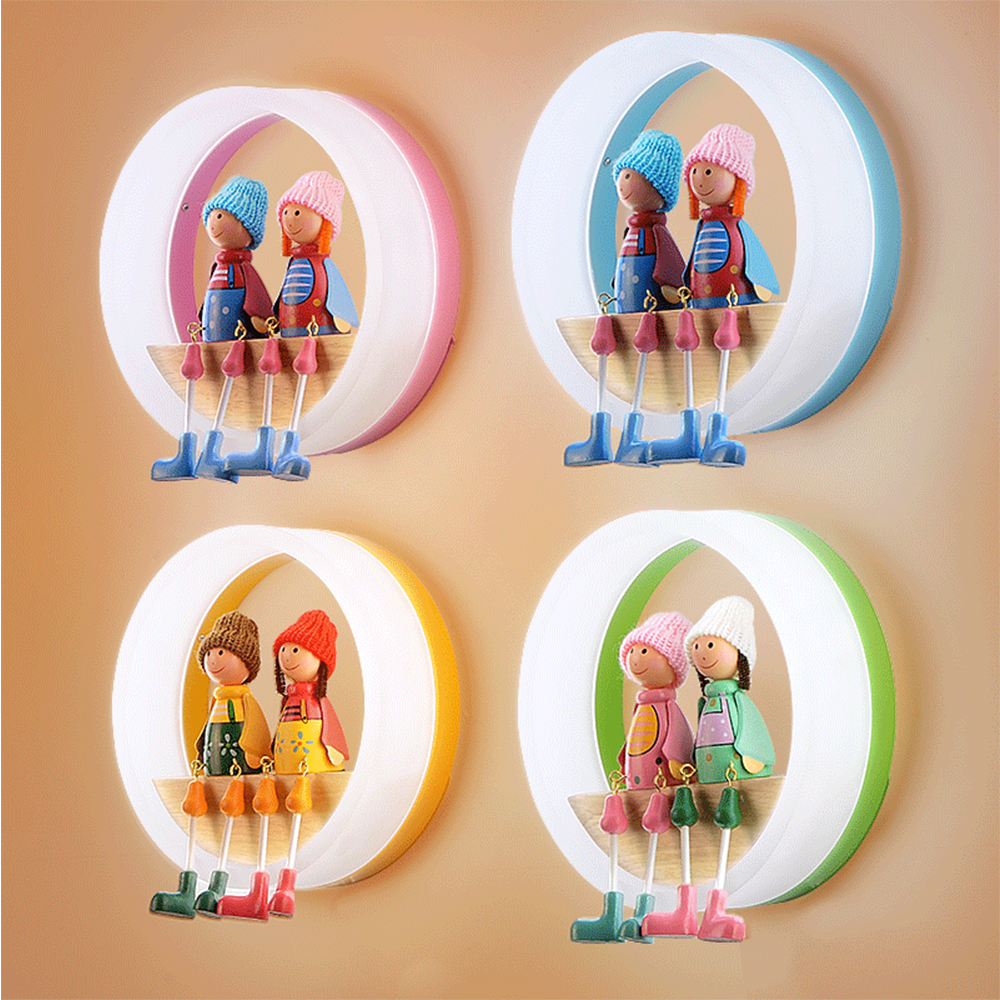 Boys Bedroom Wall Lamp Girl Cartoon Round Creative Modern Simple Warm LED Eyes Children Room Bedside Lamp children s room lamp ceiling lamp led cartoon boy girl warm and lanterns simple eyes princess stars moon bedroom lamps