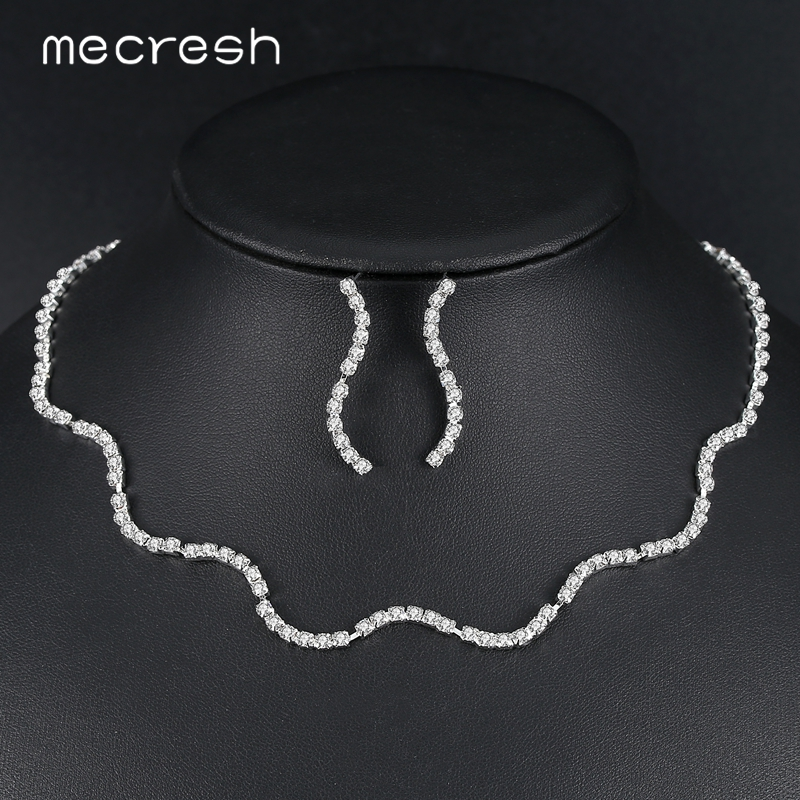 Mecresh Silver Color Crystal Bridal Jewelry Sets for Women Rhinestone  Wedding Party Necklace Earring Set Christmas 670bb0ae7e0e