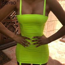 SIBYBO Sexy Backless Summer Bodycon Dress 2018 Yellow Spaghetti Strap Sleeveless Women Club Bandage Party Dresses Vestidos