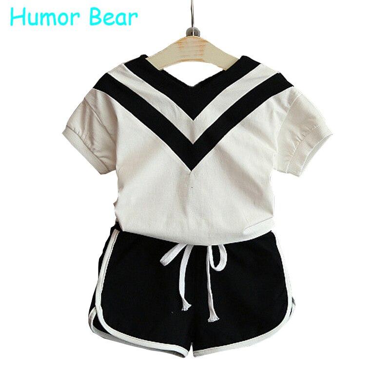 купить Humor Bear Summer Girls Clothes Baby Girl Children's Clothing T-shirt +  shorts suit  clothing set дешево
