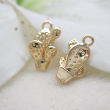 6PCS 7x13MM 24K Champagne Gold Color Plated Cactus Pendants Charms for Jewelry Making Finding Accessories