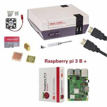 新しい NESPi ケース + ラズベリーパイ 3 モデル B + キット + 16/32 ギガバイトの SD カード + ファン + ヒートシンク + 2 ゲームパッドコントローラ + HDMI ケーブル Retropie