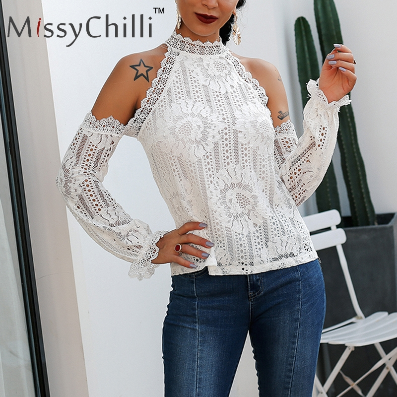 MissyChilli White cold shoulder lace sexy   blouse     shirt   Women elastic sleeve summer   blouse   top Femal spring party casual   blouse