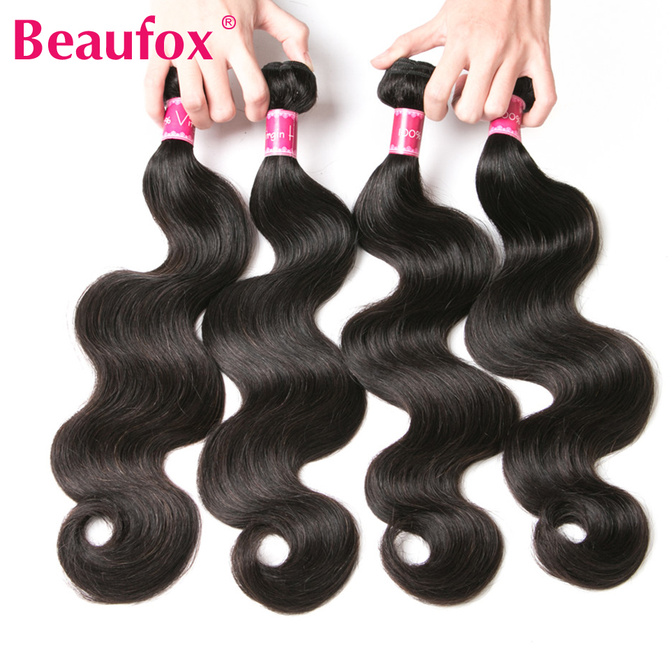 Beaufox Body Wave Brazilian Hair Weave 4 Bundles 100% Remy Human Hair Weave Bundles Natural Color Free Shipping
