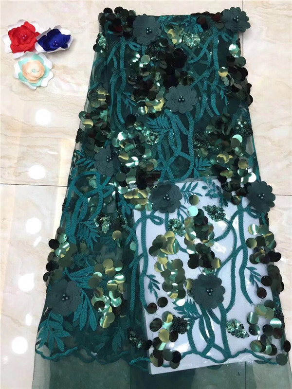 NEW High Quality 2019 Tulle sequins Beaded French Nigerian Lace Fabrics Pearls Embroidered Guipure African 3d