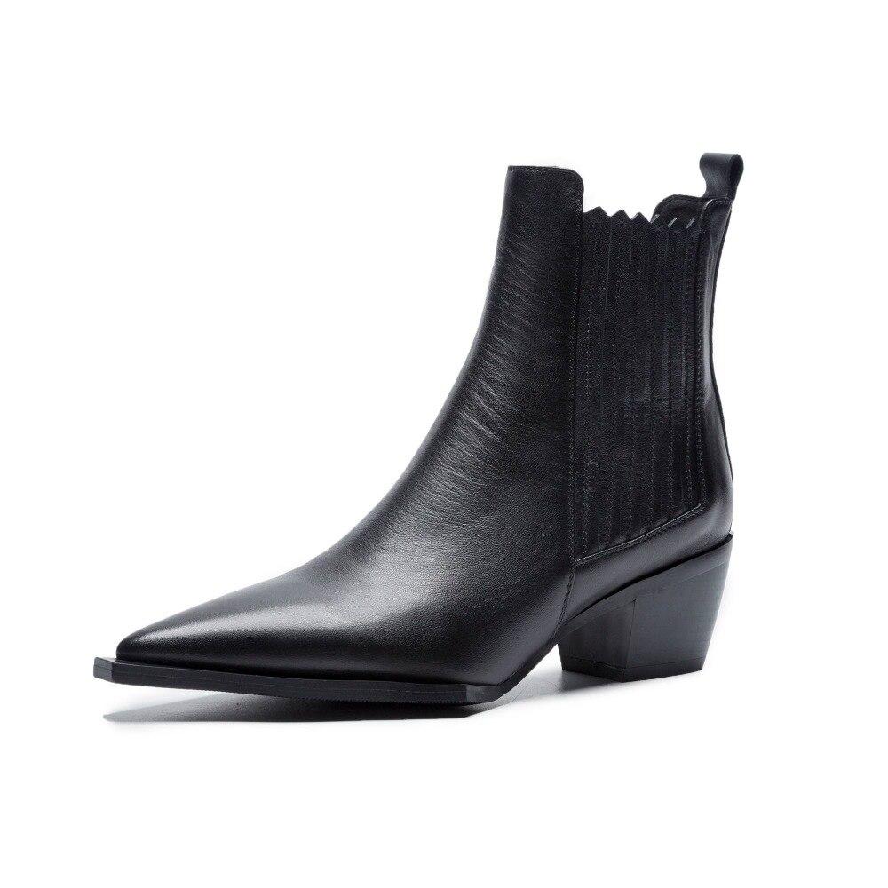 Lenkisen 2019 nuovo arrivo punta a punta in pelle di mucca solido slip on chelsea stivali med tacchi strani stivali alla caviglia stile britannico l09-in Stivaletti da Scarpe su  Gruppo 3