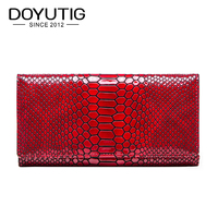DOYUTIGBusiness Style Women Red Genuine Cow Leather Long Wallets With Alligator Pattern Fashion Standard Coin Money Purses A216