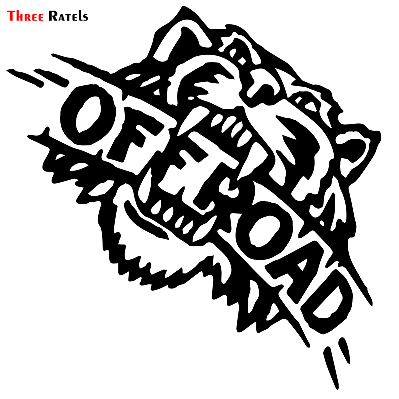 Three Ratels ALWW211# 15x15cm Car Stickers Angry Tiger Off Road  Funny Car Stickers Styling And Car Sticker Decals