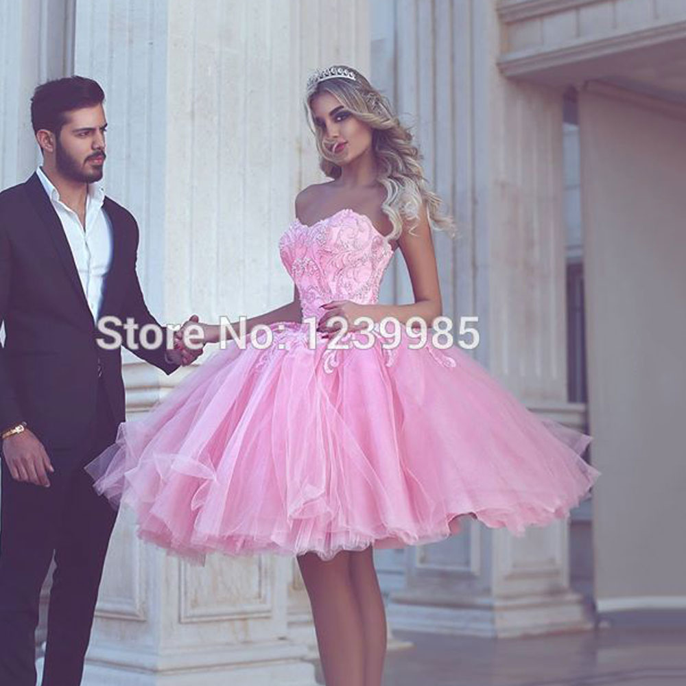 Robe de soiree Pink Short Ball Gown Prom Dresses Tulle Sweetheart Evening Party Said Mhamad Appliques