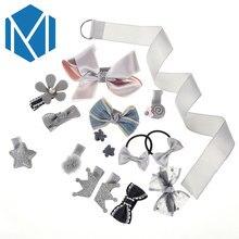 M MISM 1 Set Bow Hairpins Gum for Hair Headwear Children Girl Bow-knot Crown Barrettes Scrunchy Princess Accessories