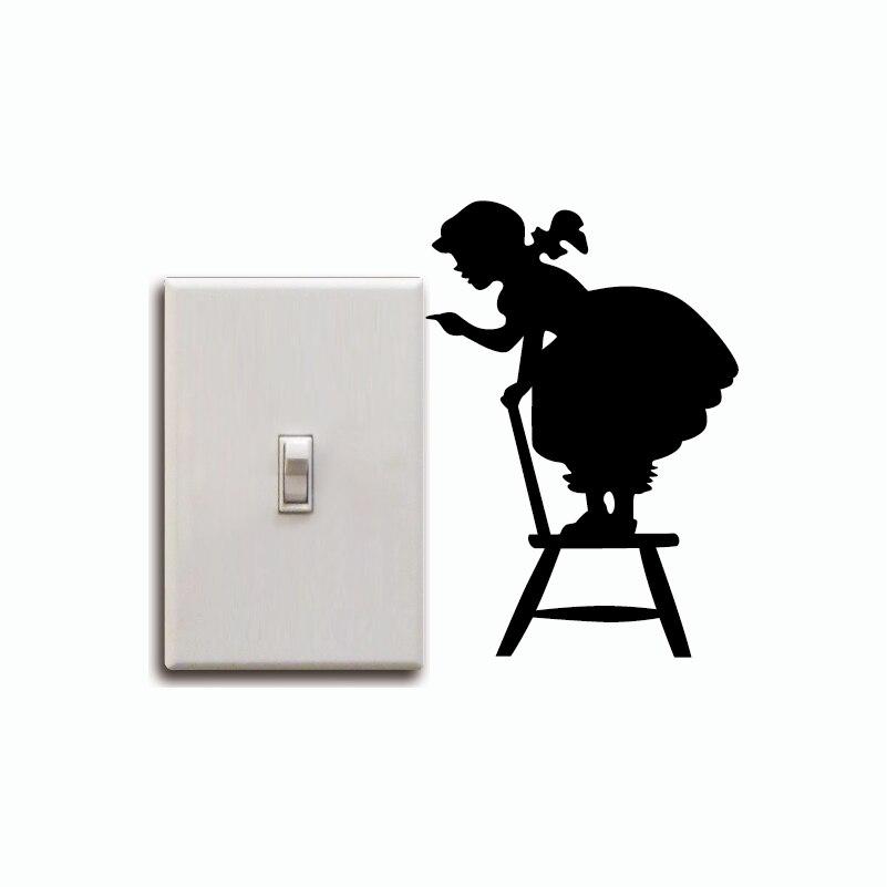 KG-209 dziewczyna stoi na fotel lekki przełącznik naklejki dziewczyna sylwetka winylu naklejki ścienne tapeta do domu