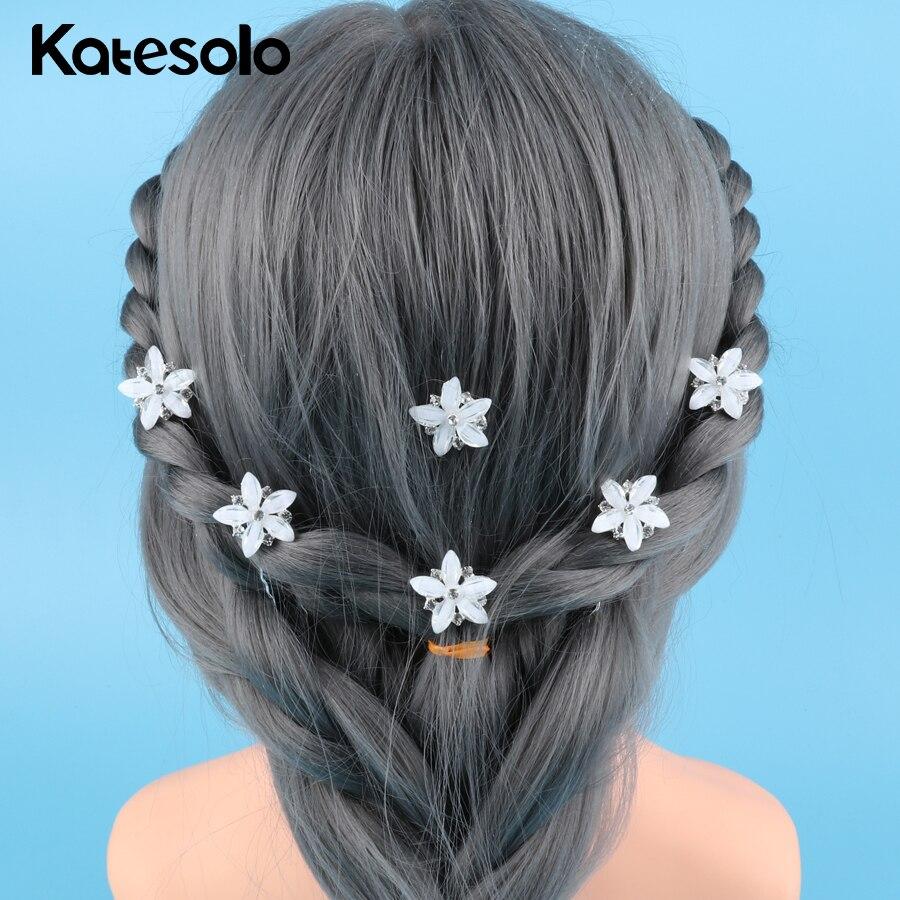 White Flower For Hair Wedding: 10pcs Girls White Flower Star Hair Clips Hair Pins Wedding