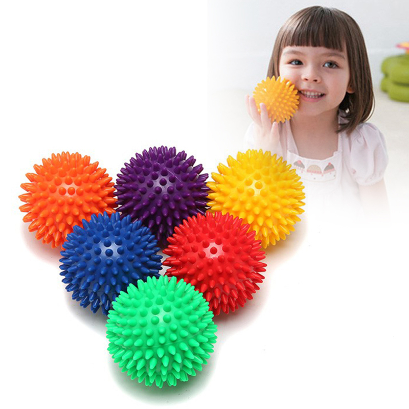 1Pc 9cm Spiky Point Massage Ball Roller Reflexology Stress Relief Palm Foot Arm Neck Back Body Health Relaxation random color R3
