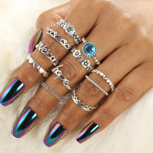 Anillos de plata de ley 2018 de alta calidad para nudillos de corazón y letras de plata Vintage para mujer, anillos de dedo MIDI de cristal tallado AZUL 1 juego = 11 Uds