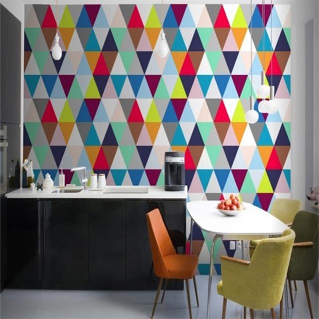 Personalized Custom Color Geometric 3d Wall Mural Wallpaper Modern