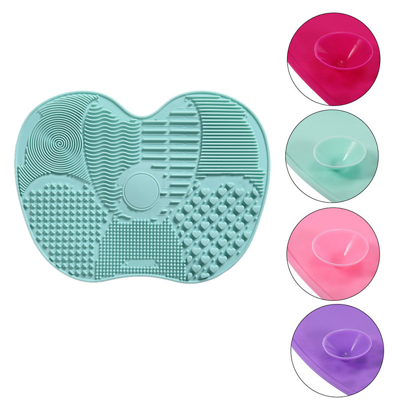 6 Color Sucker Makeup Brush Cleaning Mat Washing Pad Silicone Scrubber Board Cosmetic Brush Cleaning Tool Professional Pinceles 1pcs brushegg cleaning makeup washing silicone glove scrubber board 1pcs toothbrush powder brush cosmetic clean tools set