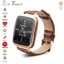 2016 New Bluetooth Smart Watch Heart Rate Monitor Wearable Devices Passometer Leather smartwatch for Android ISO OS PK KW18 DZ09