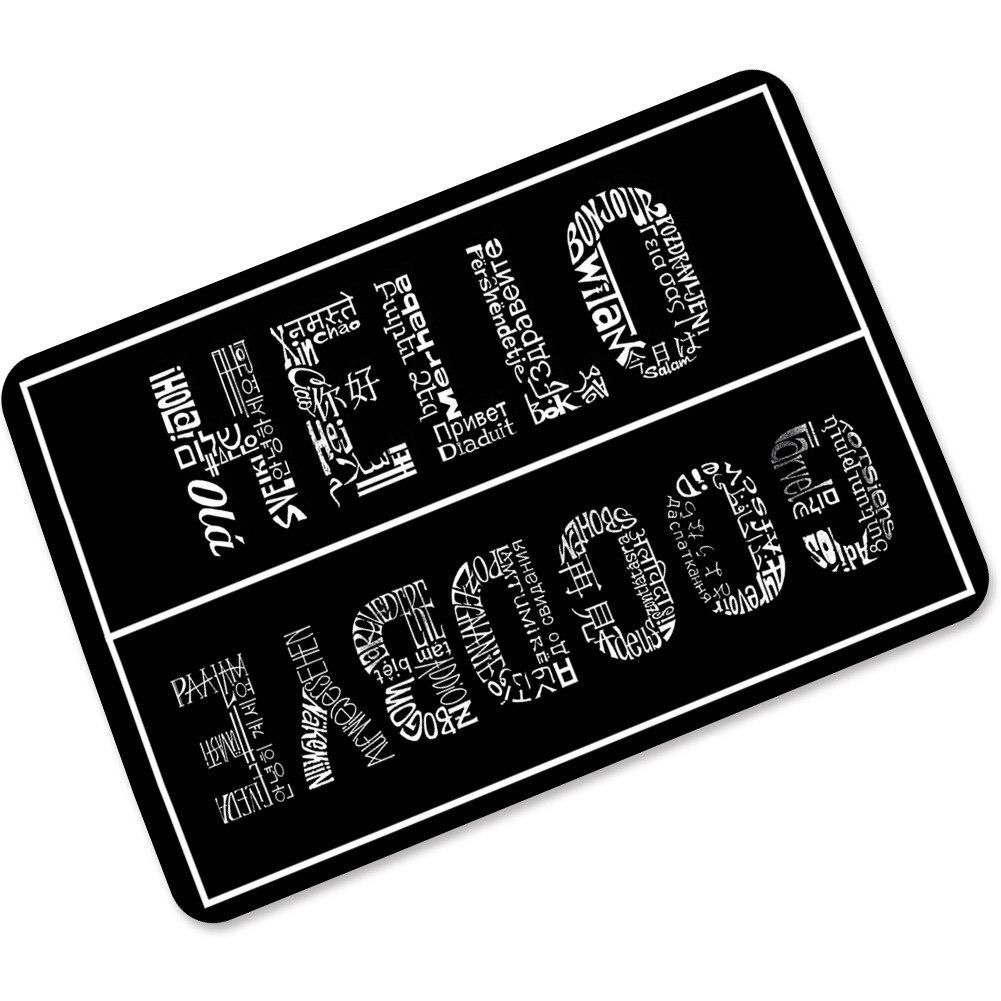 Negro Blanco Hola adiós goma antideslizante felpudos puerta entrada puerta exterior entrada interior bienvenida hogar divertido