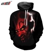 UJWI Hombre Hoodies Long 3D Pullover Printed Red devil Plus Size 5XL Habiliment Autumn Sweatshirts