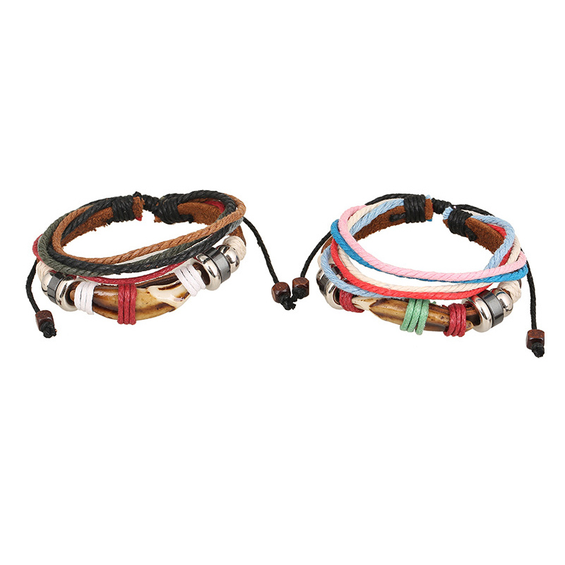 Lover Jewelry Multilayers Leather Wrap Bracelets Resin Charms Rainbow Ropes Elastic Braided Bracelet Summer Boho Ethnic Style