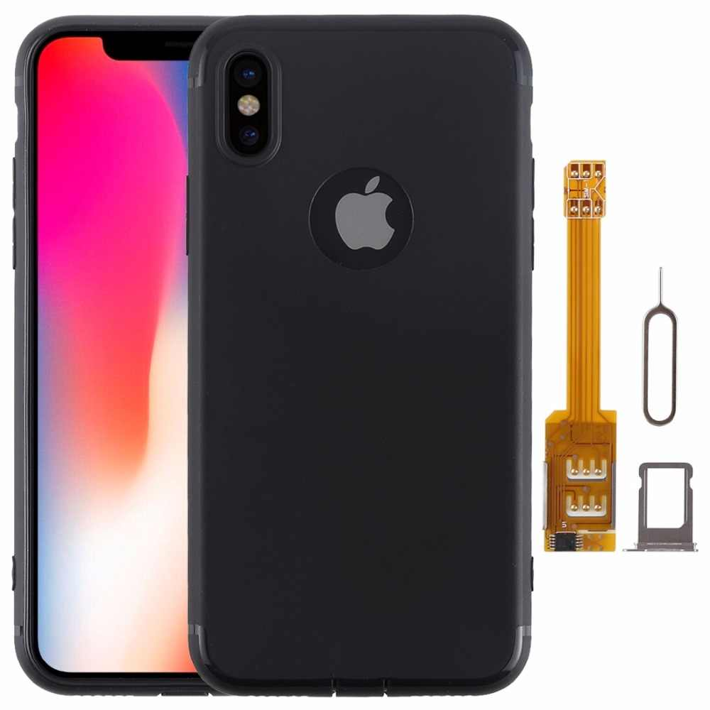sports shoes fd0dc ab2a6 For iPhone X 2 in 1 Dual SIM Card Adapter + TPU Case with SIM Card Tray /  SIM Card Pin for iPhone X, Dual Card Single Standby